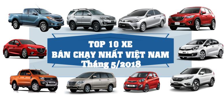 Top 10 xe bán chạy nhất Việt Nam tháng 5/2018