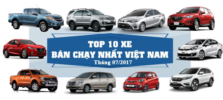 Top 10 mẫu xe ô tô bán chạy nhất tháng 7/2017 tại Việt Nam