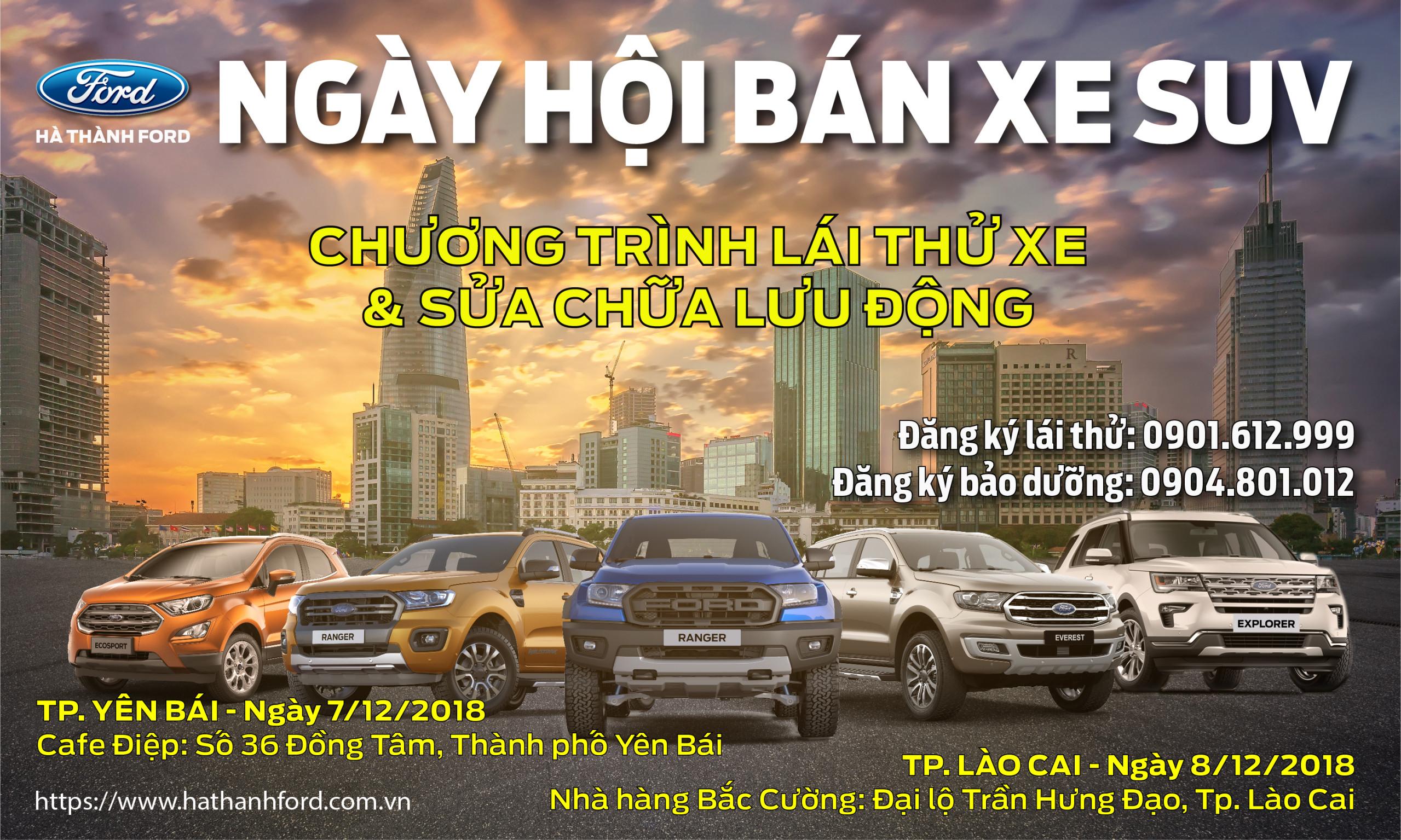 Ngày hội bán xe SUV: Ford Everest, Ford Ecosport và Ranger tại Lào Cai – Yên Bái